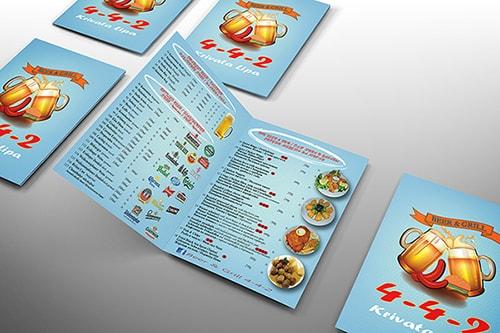 Sports bar menu design