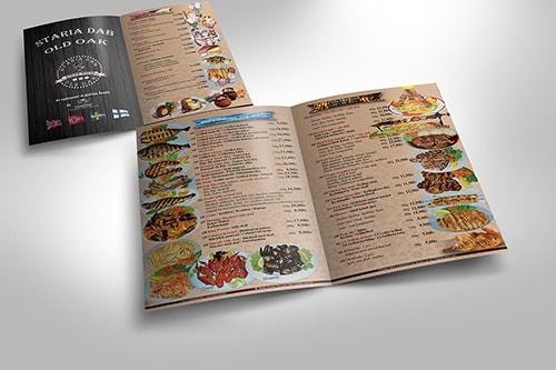 Restaurant Menu in Scandinavian languages
